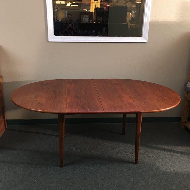 Round Mid-Century Teak Dining Table - Image 5 of 10