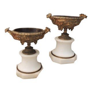 Antique French Bronze and Marble Urns With Cherubs and Grapes - a Pair For Sale