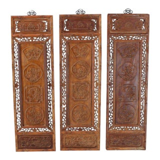 1920s Asian Carved Wall Panels - Set of 3 For Sale