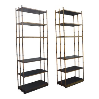 Gold Iron Bamboo Etagere-A Pair For Sale