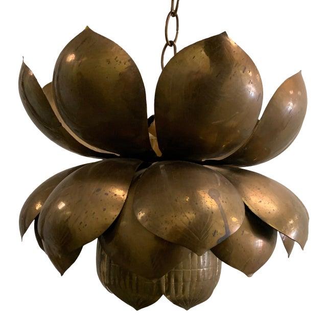 1970s Large Brass Lotus Pendant Light by Feldman For Sale