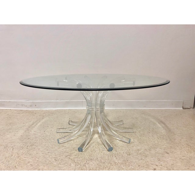 Super chic and minimal cocktail table with wheat sheaf inspired base made of lucite. The base can take a top anywhere from...