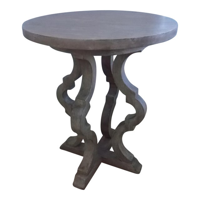 Italian Style Antique Finish Tall End Table For Sale