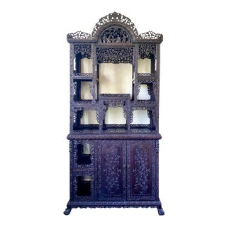 Qing Dynasty Carved Curio Cabinet For Sale