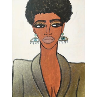 "2010s Figurative Original Acrylic Painting on Canvas, ""Eye Earrings"" by Kendra Dandy"