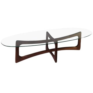 1960s Mid Century Modern Adrian Pearsall for Craft Associates Walnut and Glass Coffee Table For Sale