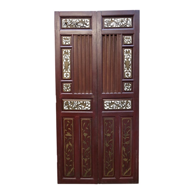 Antique Chinese Hand Carved Wooden Doors - a Pair - Image 1 of 11