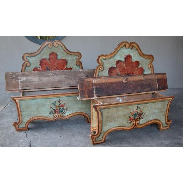 Baroque A Fanciful Venetian Baroque Style Pine Polychromed Highback Bench For Sale - Image 3 of 10