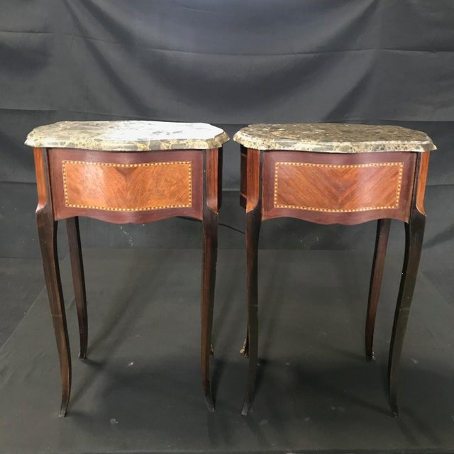 French French Vintage Mahogany & Satinwood Inlay Night Stands With Marble Tops -A Pair For Sale - Image 3 of 12
