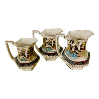 """1910s Gater and Hall Hand Painted Pitchers with """"Ye Olde Willow"""" Pattern - Set of 3 For Sale"""