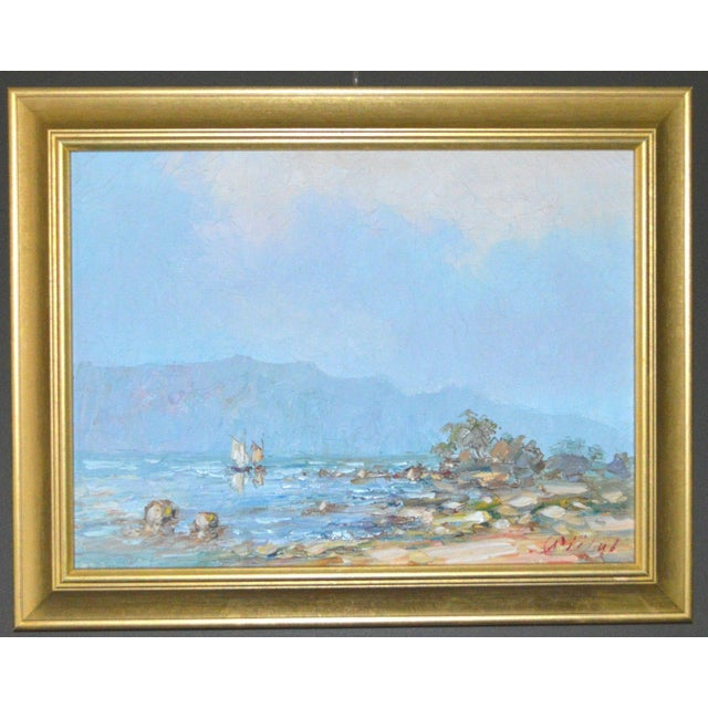 Blue Water Landscape Oil on Canvas Painting Plein Air Gold Frame For Sale - Image 12 of 12