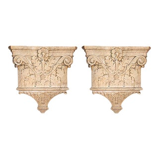 Early 20th Century Traditional Ornately Carved Marble Column Capitals With Scrollwork and Foliate Motifs - a Pair For Sale
