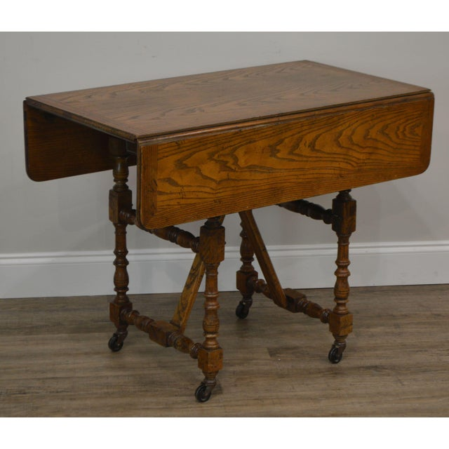 High Quality Oak Drop Leaf Table That Adjust in Height from Coffee Table to a Server or Dining Table