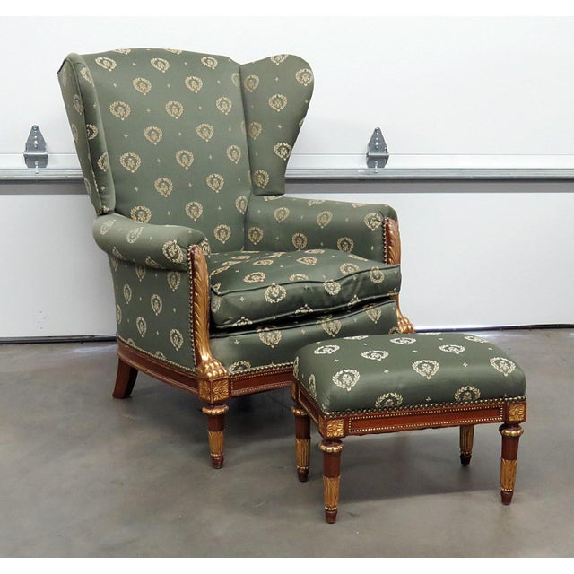 Jansen Regency Style Chair & Ottoman - A Pair For Sale - Image 10 of 10