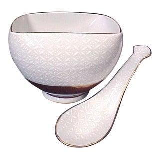 Kutani White on White Square Soup Bowl & Spoon - A Pair For Sale