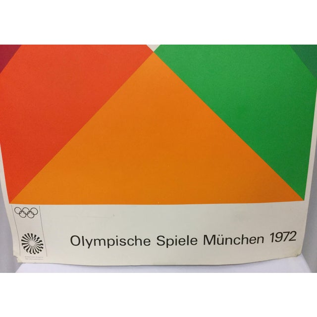 A highly-collectible original color serigraph poster promoting the 1972 Munich Olympics, designed and signed on screen by...
