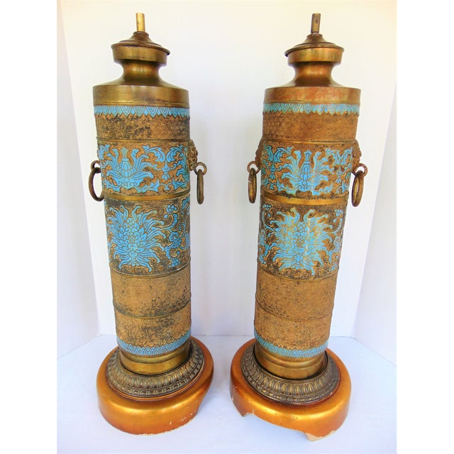 Vintage Marbro Champleve Lamps - A Pair - Image 8 of 8