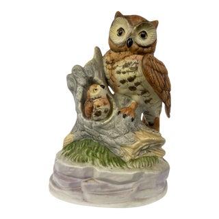Vintage Porcelain Owl and Baby Figurine For Sale