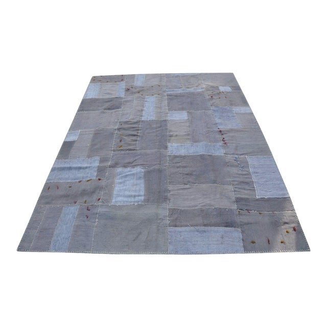 Gray Patchwork Rug - 5′8″ × 7′10″ For Sale