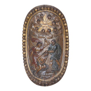 Antique French Hand Carved Wooden Plaque Depicting Abraham and the Sacrifice of His Son Isaac For Sale