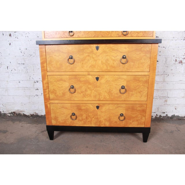 Late 20th Century Baker Furniture Biedermeier Burl Wood and Primavera Highboy Chest of Drawers For Sale - Image 5 of 13