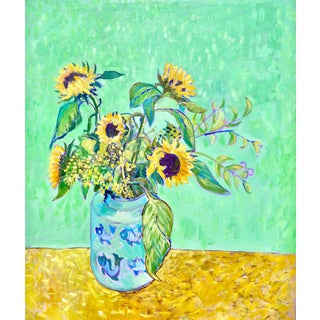 """""""Sunflowers After Van Gogh"""" Contemporary Expressionist Floral Still Life Oil Painting by Humbert Curcuru For Sale"""