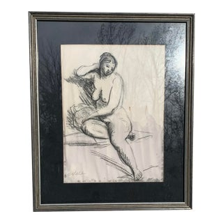 Vintage Original Drawing of Nude Woman For Sale