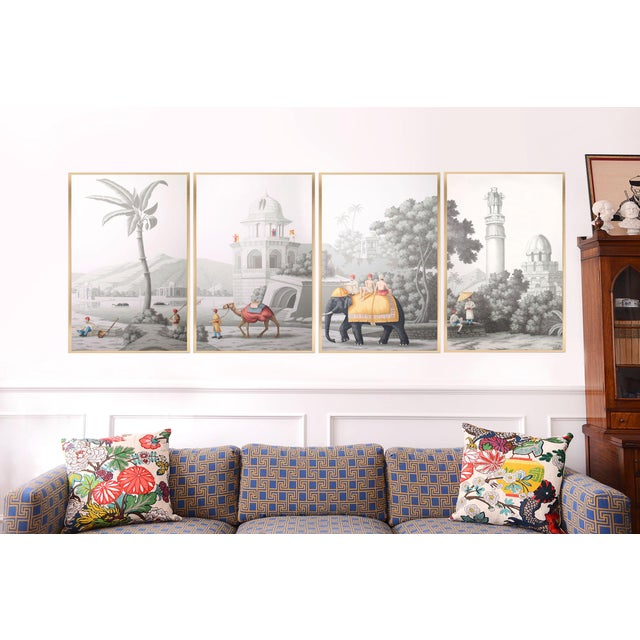 """Gray Jardins en Fleur """"Idyllic Scenes of Ancient India"""" Hand-Painted Grisaille Framed Polyptyc, 4 Pieces For Sale - Image 8 of 9"""