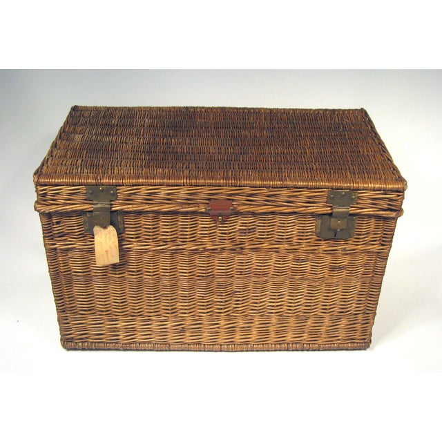 Large Antique French Wicker Trunk - Image 2 of 6