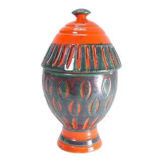 1960 Aldo Londi for Bitossi Raymor Italian Pottery Lidded Jar Compote Vessel For Sale