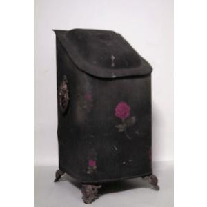 American Country style (19th Cent) black tole coal scuttle For Sale