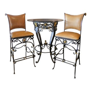 LaBarge Iron & Brass High Top Bar or Pub Table & Leather Bar Stools For Sale