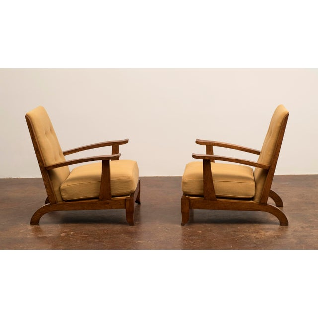 Modern Pair of French Lounge Chairs in Oak and Belgian Linen, 1940s For Sale - Image 3 of 13