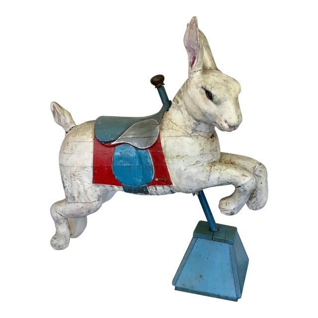 19th Century Rare French Carved Juvenile Carousel Rabbit For Sale