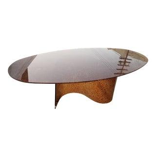 Vintage Orange Glass Oval Dining Table For Sale