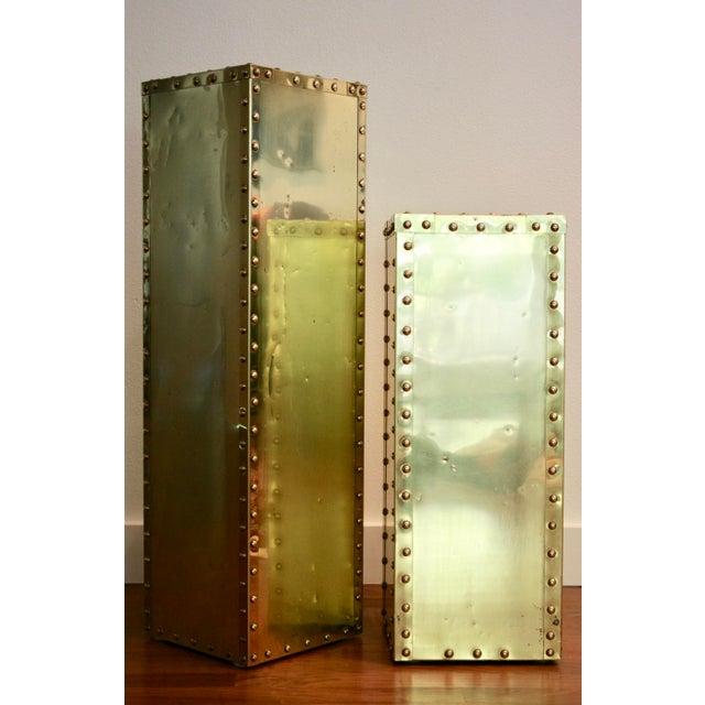 Sarreid-Style Brass Studded Pedestal (Smaller Pedestal Only) - Image 3 of 11