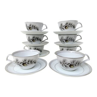 1950's Vintage Chinese Pine Kent Silver Tea Cups- Set of 8 For Sale