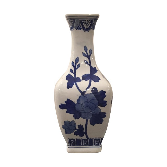 Blue and White Chinoiserie Vase - Image 1 of 5