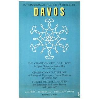 1947 Davos European Figure Skating Championships Poster