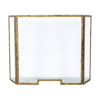 Art Deco Gilt Brass & Tempered Glass Fire Screen