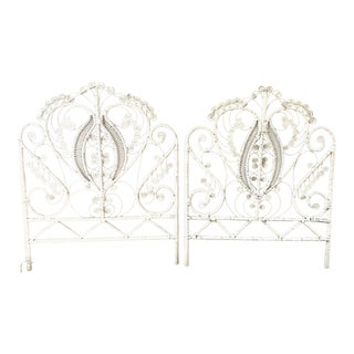 1950s Boho Chic White Twin Rattan Headboards - a Pair For Sale