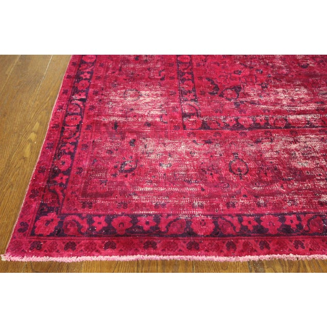 """Pink Overdyed Floral Area Rug - 9'7"""" x 12'2"""" - Image 8 of 10"""