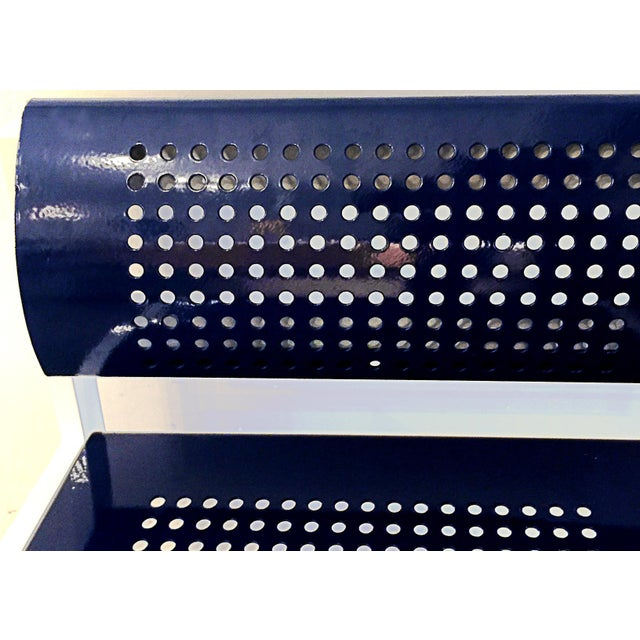 Set of 4 Modern Steel Patio Chair With Perforated Design, Refinished For Sale In Los Angeles - Image 6 of 6
