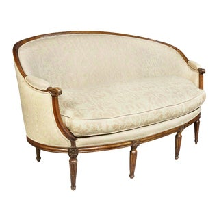 Louis XVI Walnut Fortuny Upholstered Settee For Sale