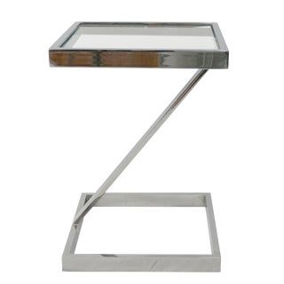 1970s Mid Century Modern Pace Collection Chrome Z Side Table For Sale