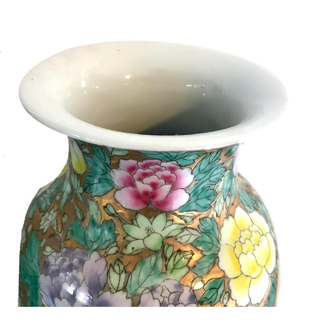 Chinoiserie Chinoiserie Floral Gold and Pastel Ceramic Vases - a Pair For Sale - Image 3 of 5
