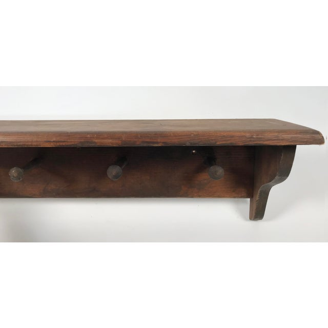 Early 20th Century Rustic Mounted Shelf W/ Hanging Pegs For Sale - Image 5 of 9
