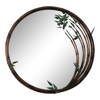 Round Gilt Metal Faux Bamboo Mirror For Sale