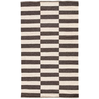Jaipur Living Demi Handmade Striped Brown & Cream Area Rug - 9′ × 12′ For Sale