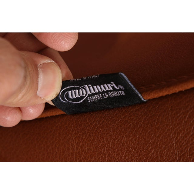 Animal Skin Vintage Molinari Tan Leather Armchair For Sale - Image 7 of 11